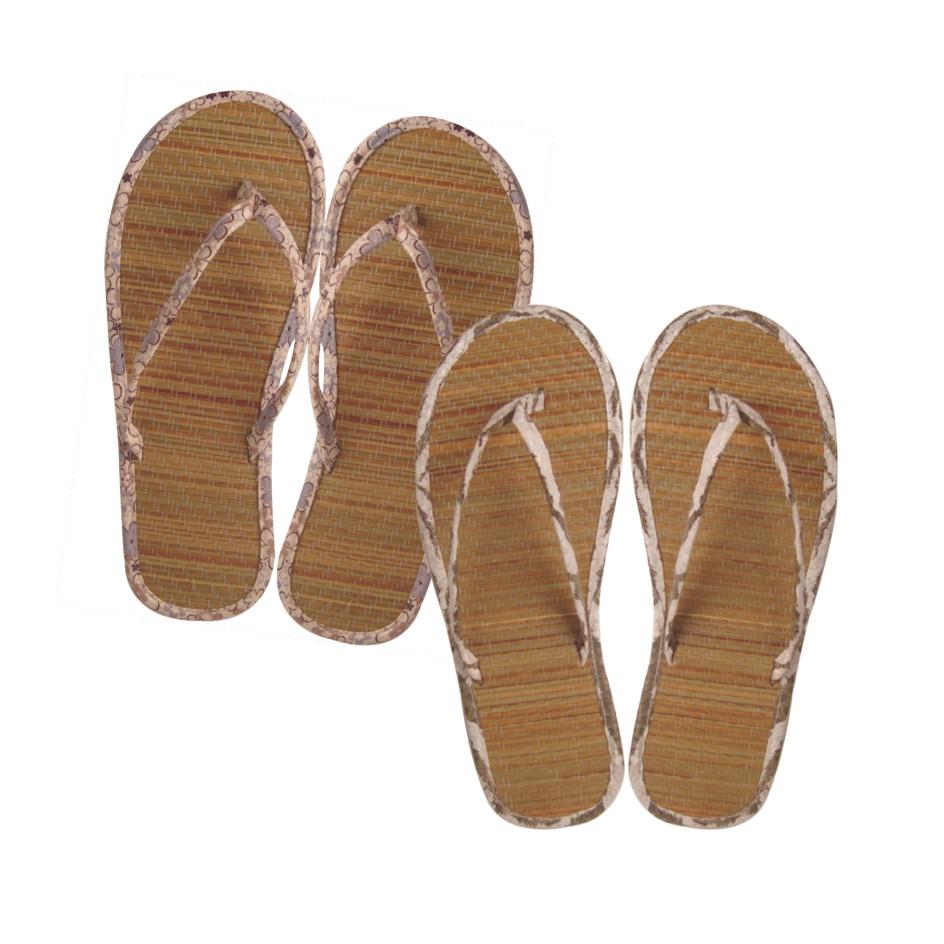 Bamboo slippers are made of long bamboo straws. they are weaven in a ...